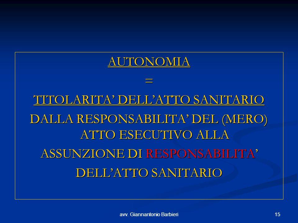 TITOLARITA' DELL'ATTO SANITARIO