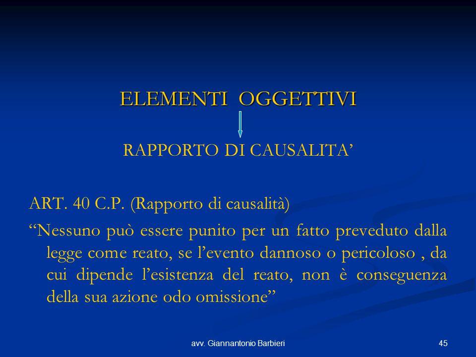 ELEMENTI OGGETTIVI RAPPORTO DI CAUSALITA'