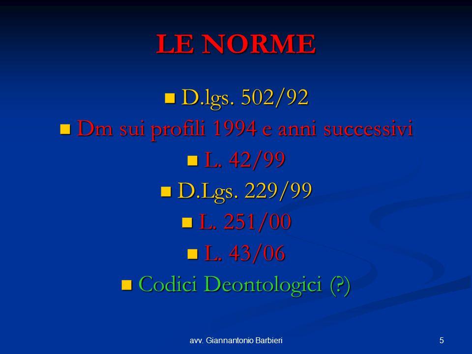 LE NORME D.lgs. 502/92 Dm sui profili 1994 e anni successivi L. 42/99
