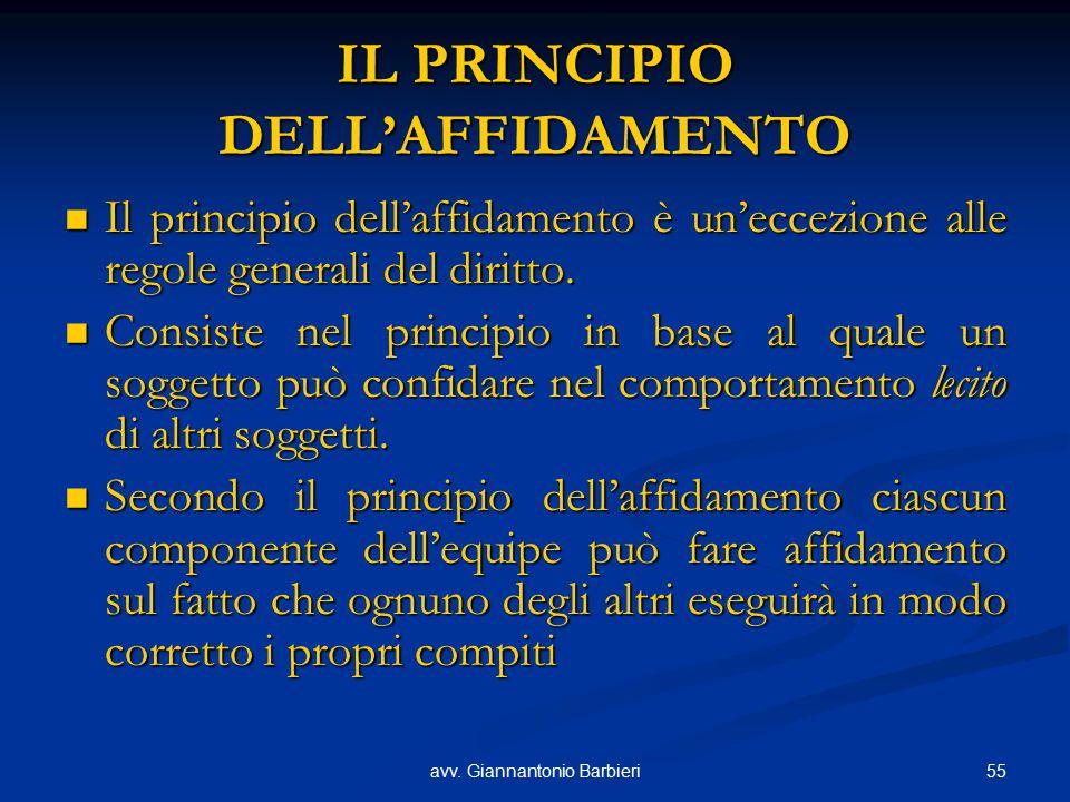IL PRINCIPIO DELL'AFFIDAMENTO