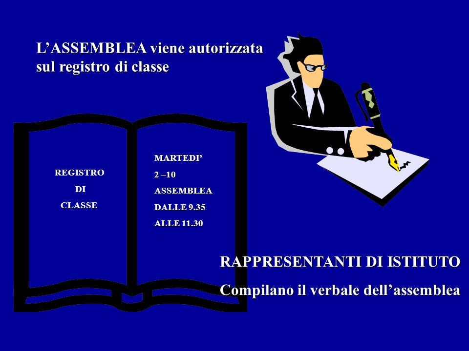 L'ASSEMBLEA viene autorizzata sul registro di classe