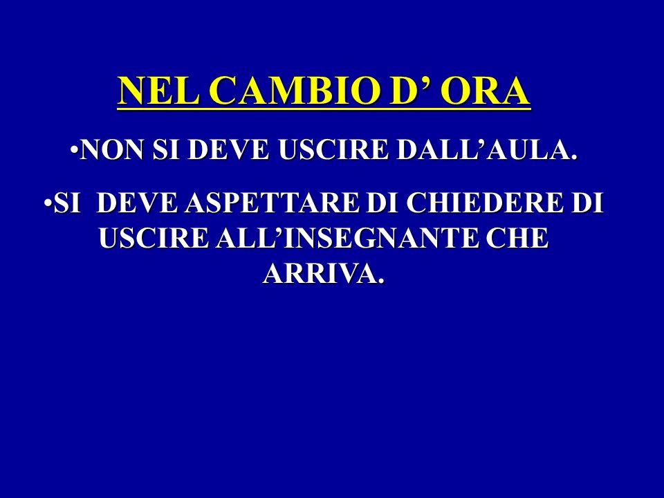 NEL CAMBIO D' ORA NON SI DEVE USCIRE DALL'AULA.