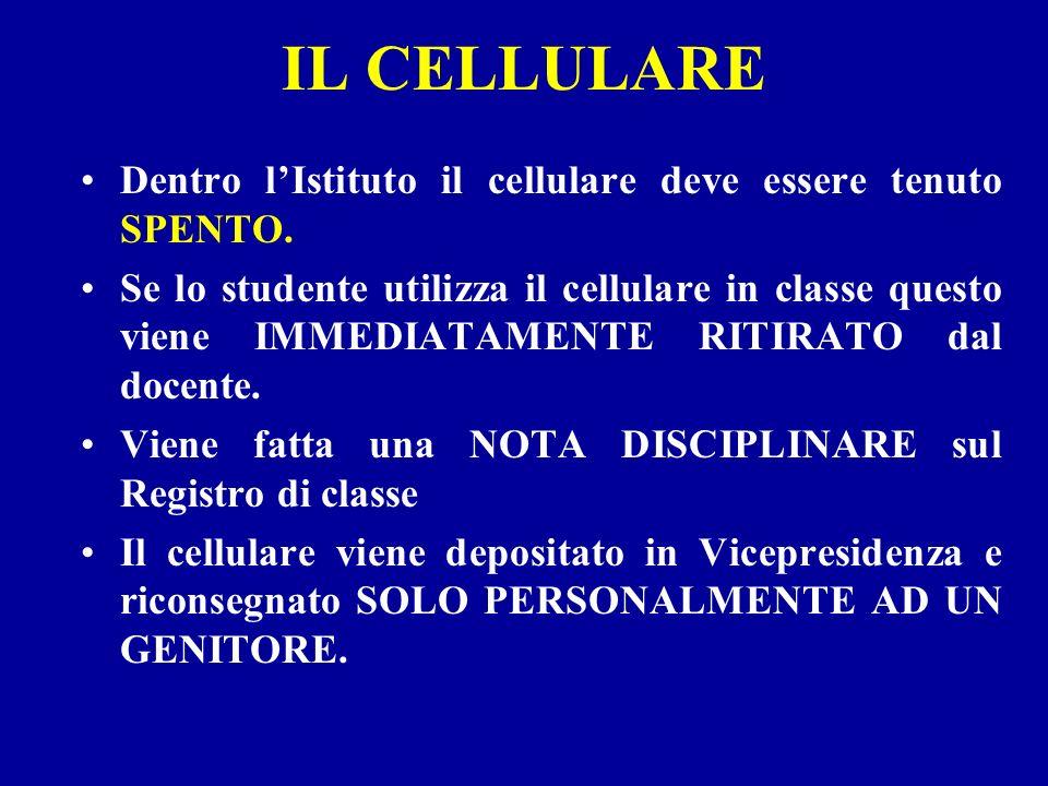 IL CELLULARE Dentro l'Istituto il cellulare deve essere tenuto SPENTO.