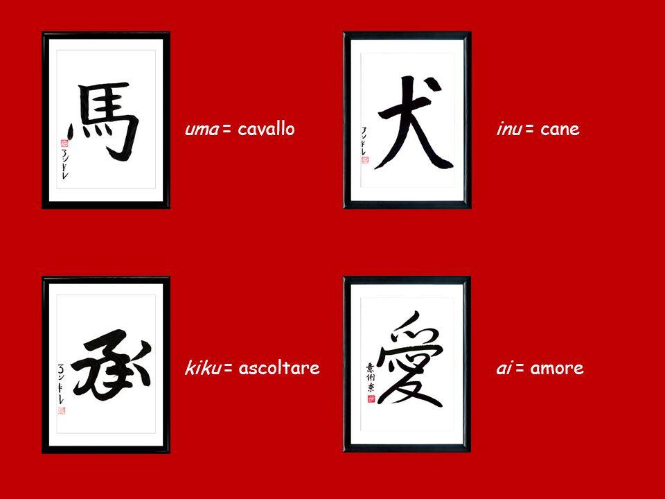 uma = cavallo inu = cane kiku = ascoltare ai = amore