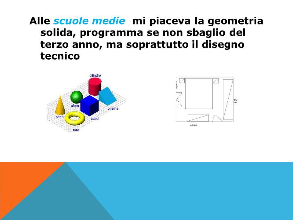 Alle scuole medie mi piaceva la geometria solida, programma se non sbaglio del terzo anno, ma soprattutto il disegno tecnico