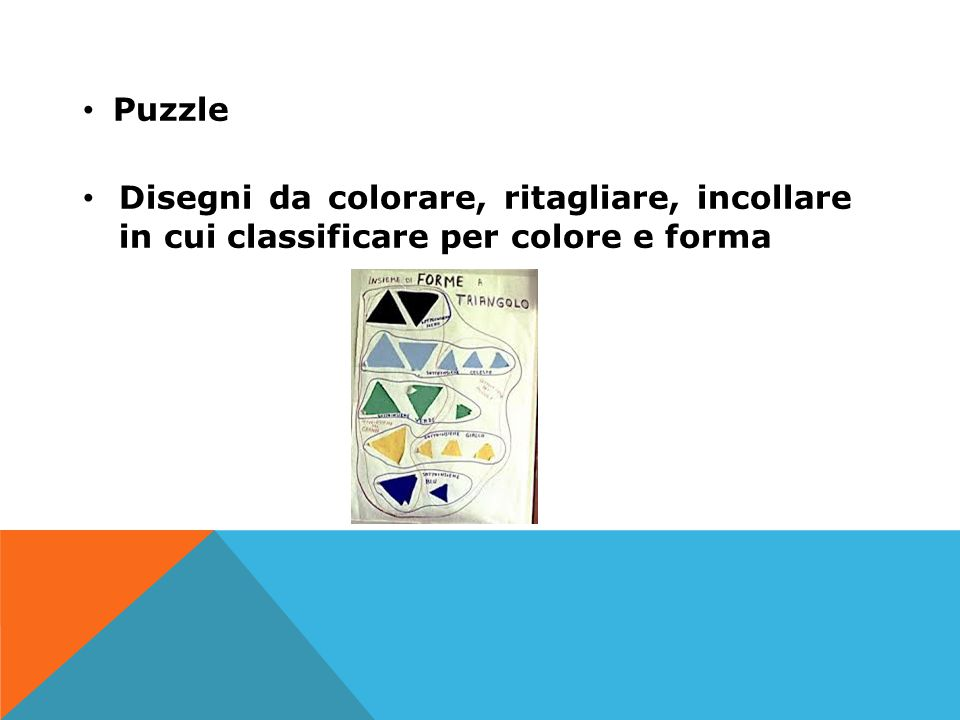 Puzzle Disegni da colorare, ritagliare, incollare in cui classificare per colore e forma