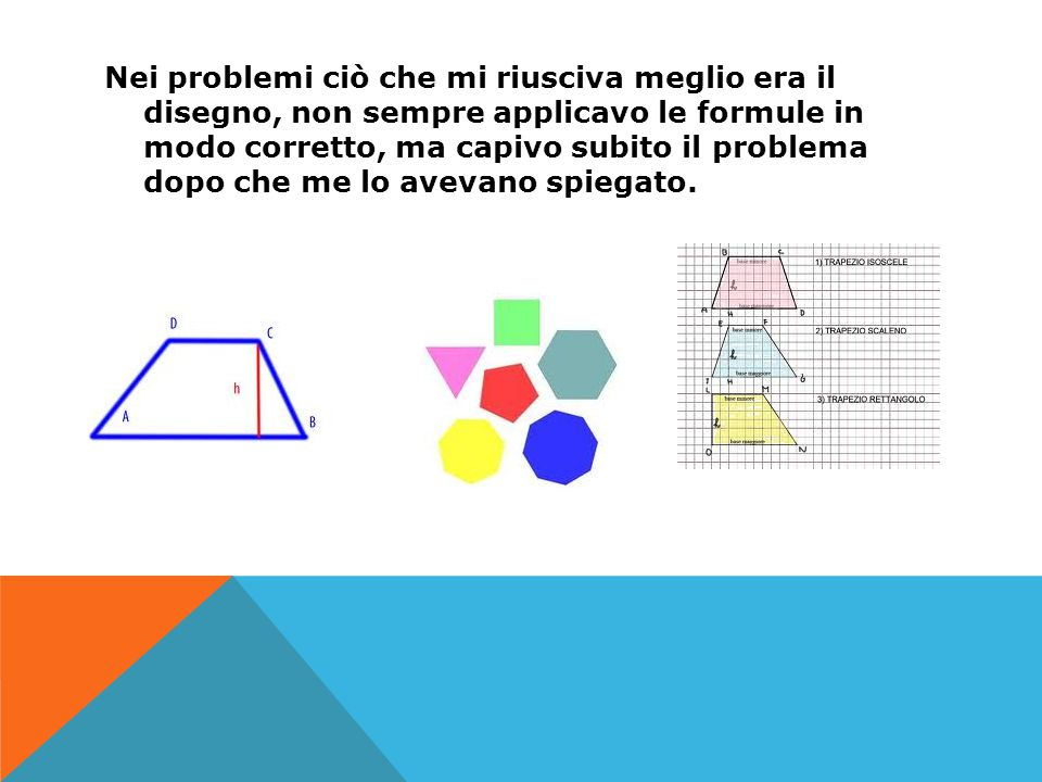Nei problemi ciò che mi riusciva meglio era il disegno, non sempre applicavo le formule in modo corretto, ma capivo subito il problema dopo che me lo avevano spiegato.