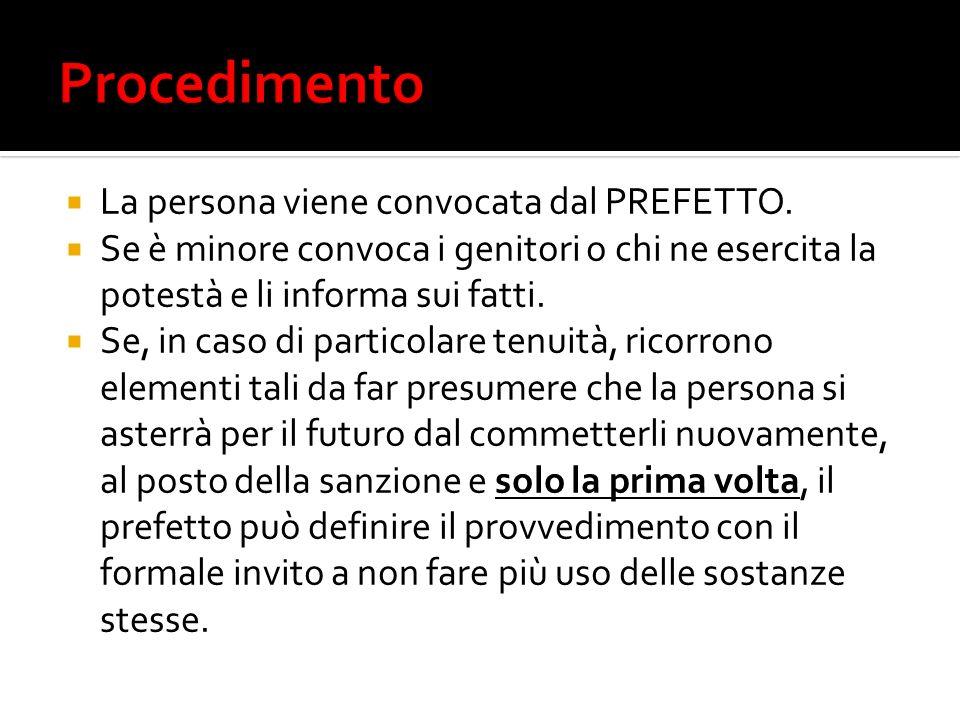 Procedimento La persona viene convocata dal PREFETTO.