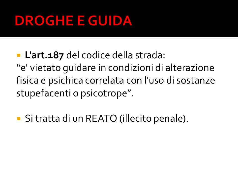 DROGHE E GUIDA L art.187 del codice della strada: