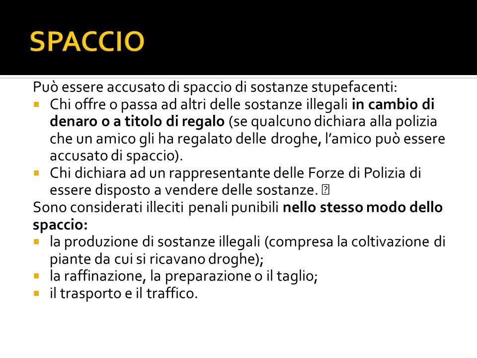 SPACCIO Può essere accusato di spaccio di sostanze stupefacenti: