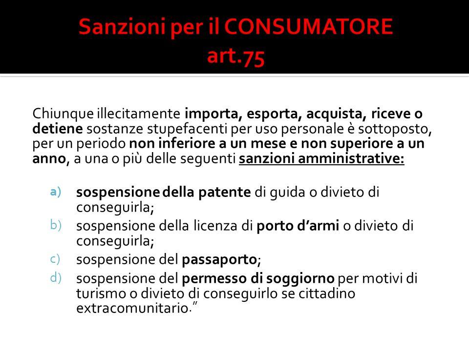 Sanzioni per il CONSUMATORE art.75
