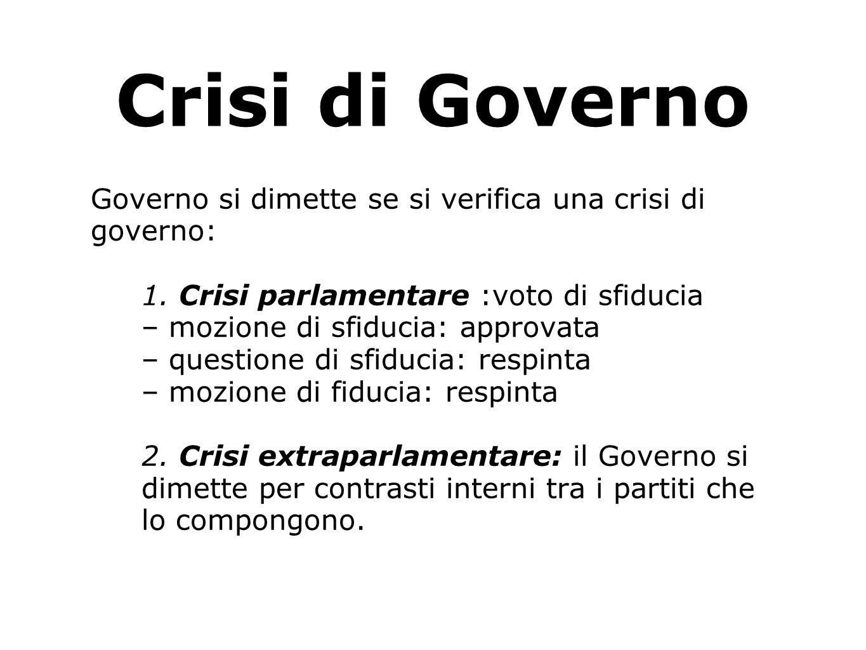Crisi di Governo Governo si dimette se si verifica una crisi di governo: 1. Crisi parlamentare :voto di sfiducia.
