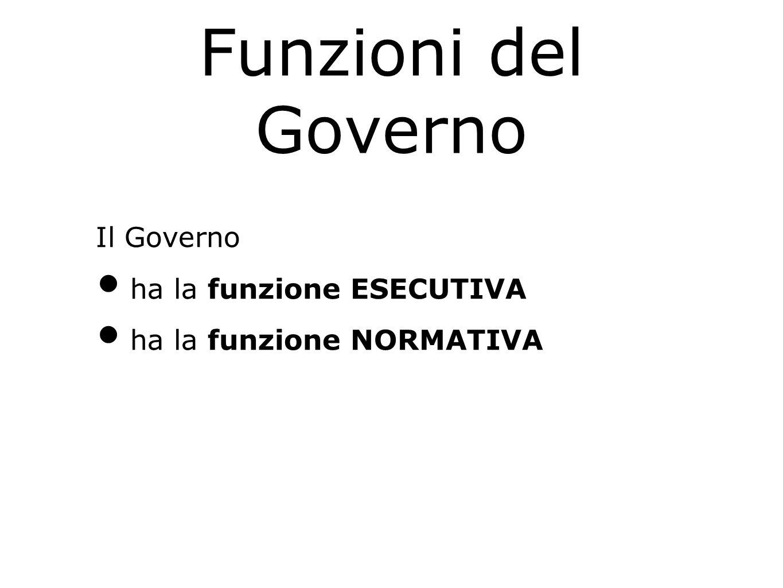 Funzioni del Governo Il Governo ha la funzione ESECUTIVA