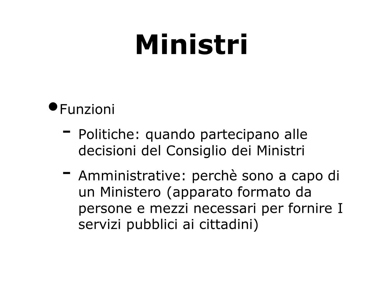 Ministri Funzioni. Politiche: quando partecipano alle decisioni del Consiglio dei Ministri.