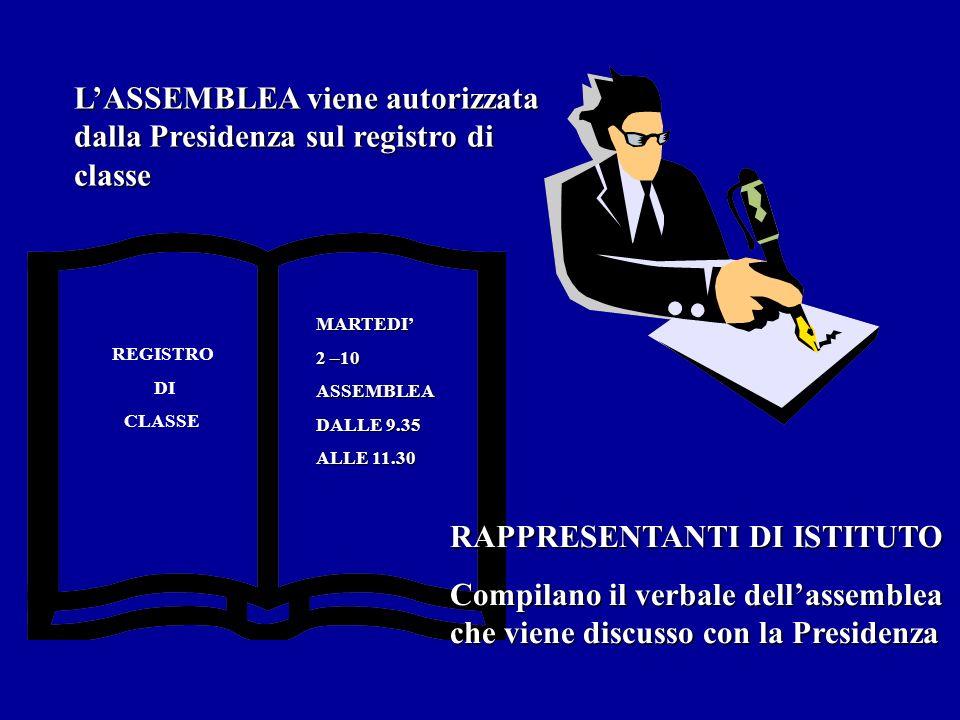 L'ASSEMBLEA viene autorizzata dalla Presidenza sul registro di classe