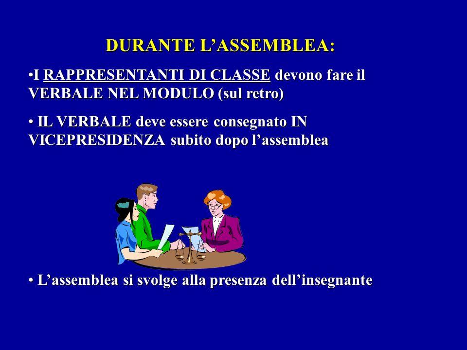 DURANTE L'ASSEMBLEA: I RAPPRESENTANTI DI CLASSE devono fare il VERBALE NEL MODULO (sul retro)