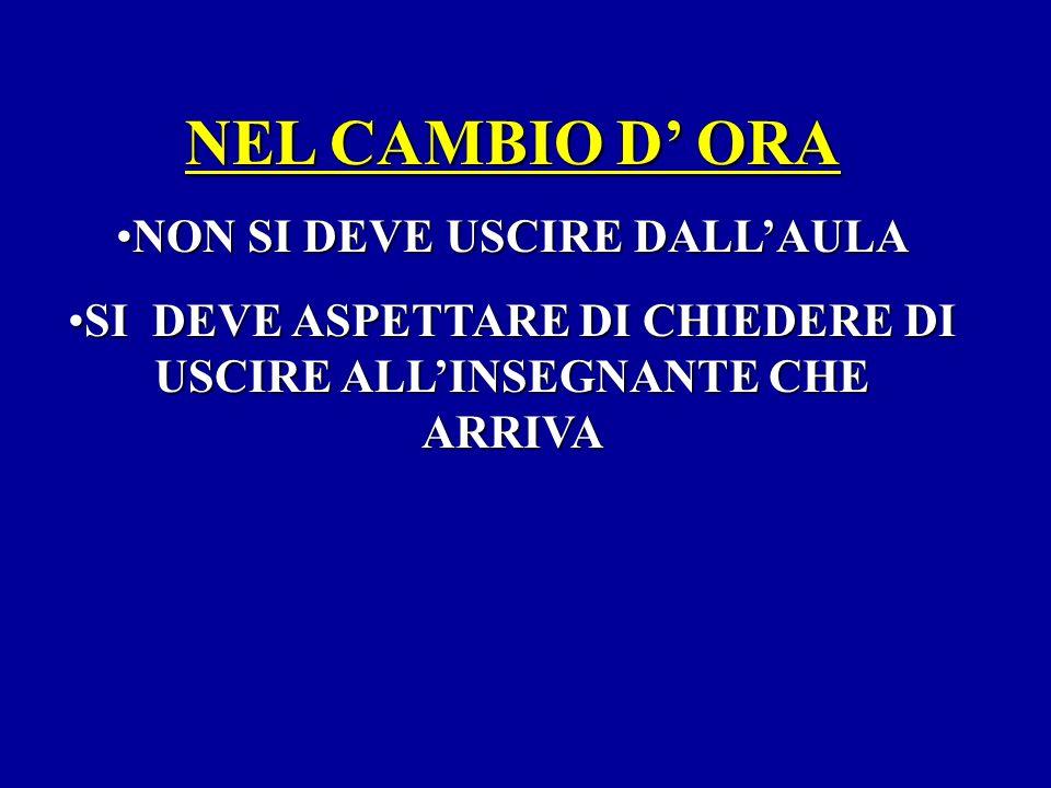 NEL CAMBIO D' ORA NON SI DEVE USCIRE DALL'AULA