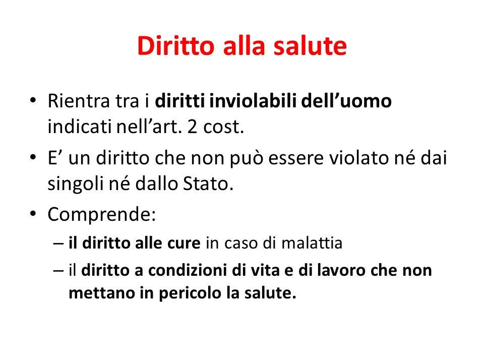 Diritto alla salute Rientra tra i diritti inviolabili dell'uomo indicati nell'art. 2 cost.