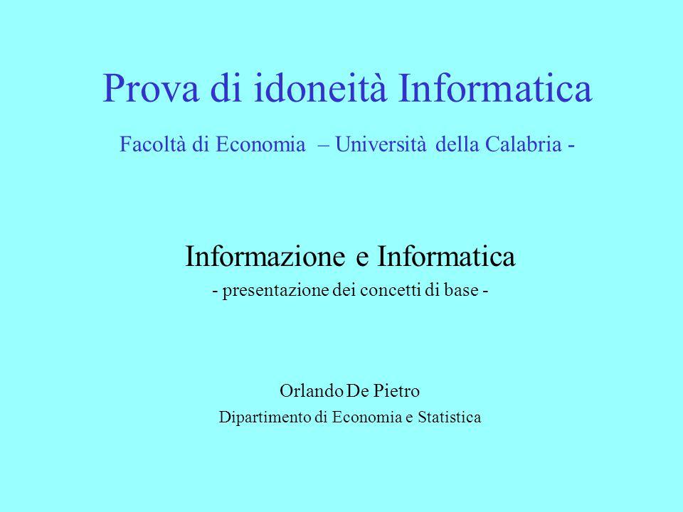 Prova di idoneità Informatica Facoltà di Economia – Università della Calabria -
