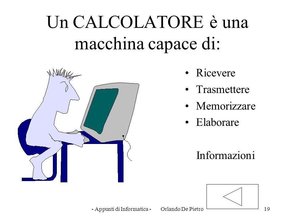 Un CALCOLATORE è una macchina capace di: