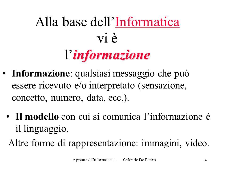 Alla base dell'Informatica vi è l'informazione