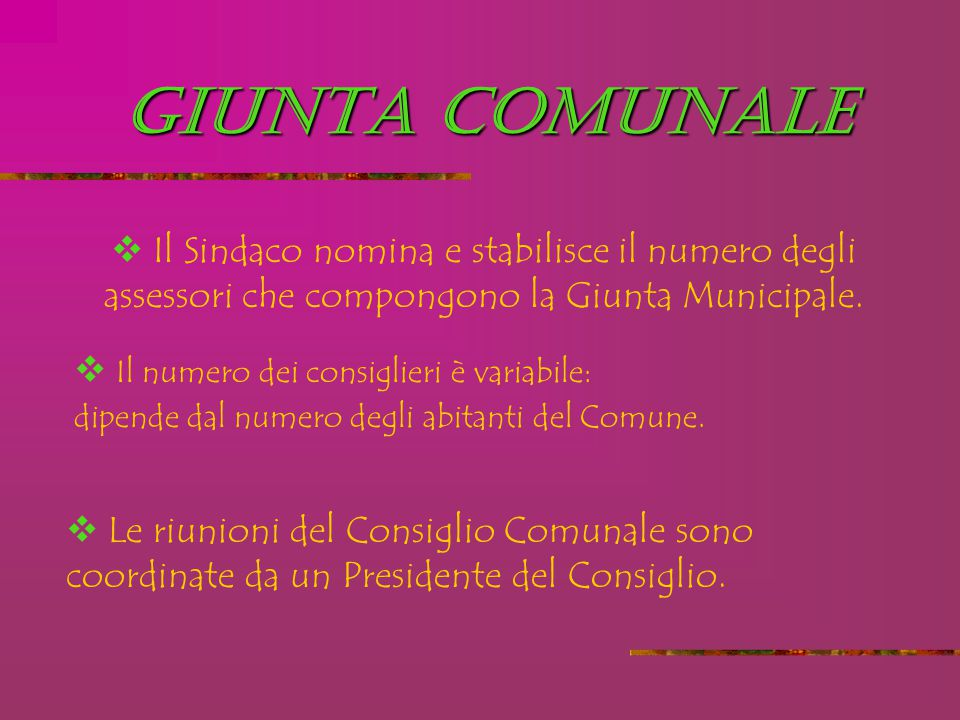 GIUNTA COMUNALE Il Sindaco nomina e stabilisce il numero degli assessori che compongono la Giunta Municipale.