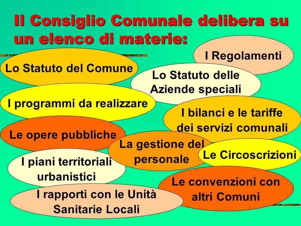 Il Consiglio Comunale delibera su un elenco di materie:
