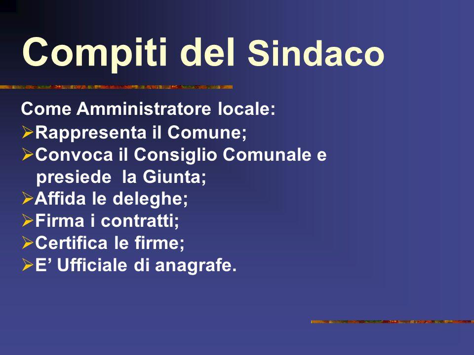 Compiti del Sindaco Come Amministratore locale: Rappresenta il Comune;