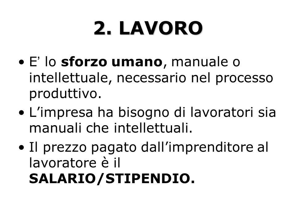 2. LAVORO E' lo sforzo umano, manuale o intellettuale, necessario nel processo produttivo.