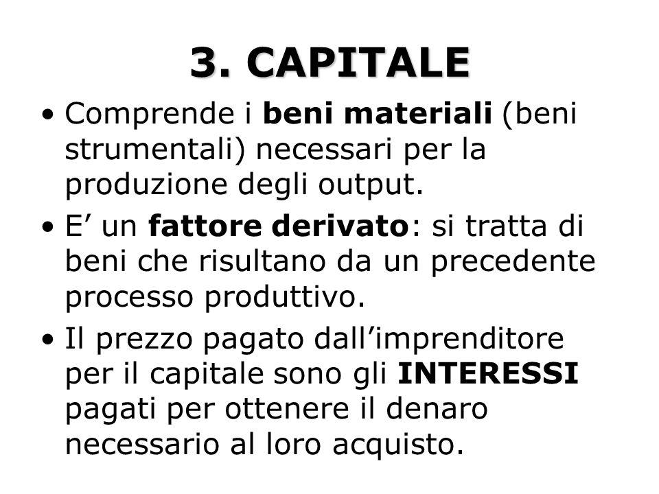 3. CAPITALE Comprende i beni materiali (beni strumentali) necessari per la produzione degli output.