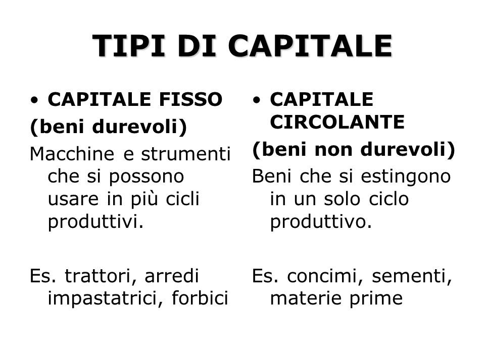 TIPI DI CAPITALE CAPITALE FISSO (beni durevoli)