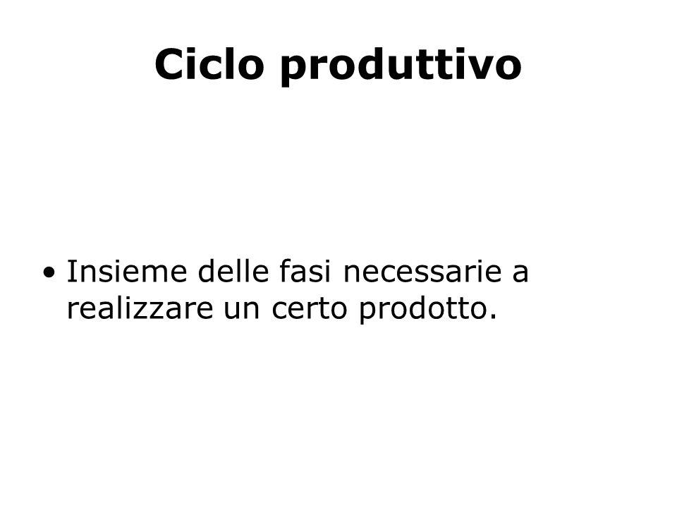 Ciclo produttivo Insieme delle fasi necessarie a realizzare un certo prodotto.