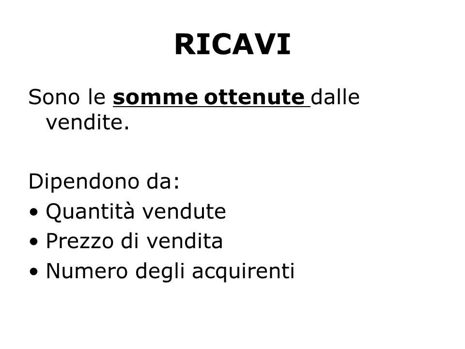 RICAVI Sono le somme ottenute dalle vendite. Dipendono da: