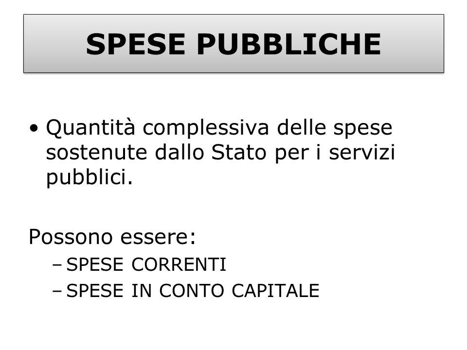 SPESE PUBBLICHE Quantità complessiva delle spese sostenute dallo Stato per i servizi pubblici. Possono essere: