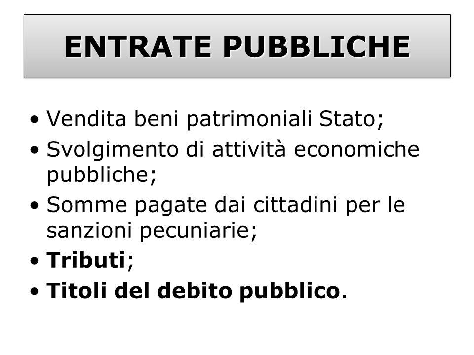 ENTRATE PUBBLICHE Vendita beni patrimoniali Stato;