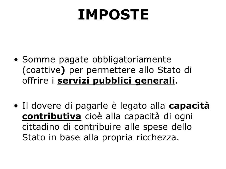 IMPOSTESomme pagate obbligatoriamente (coattive) per permettere allo Stato di offrire i servizi pubblici generali.