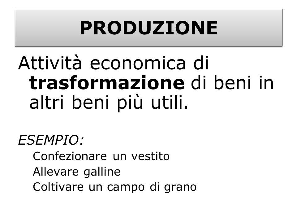 Attività economica di trasformazione di beni in altri beni più utili.