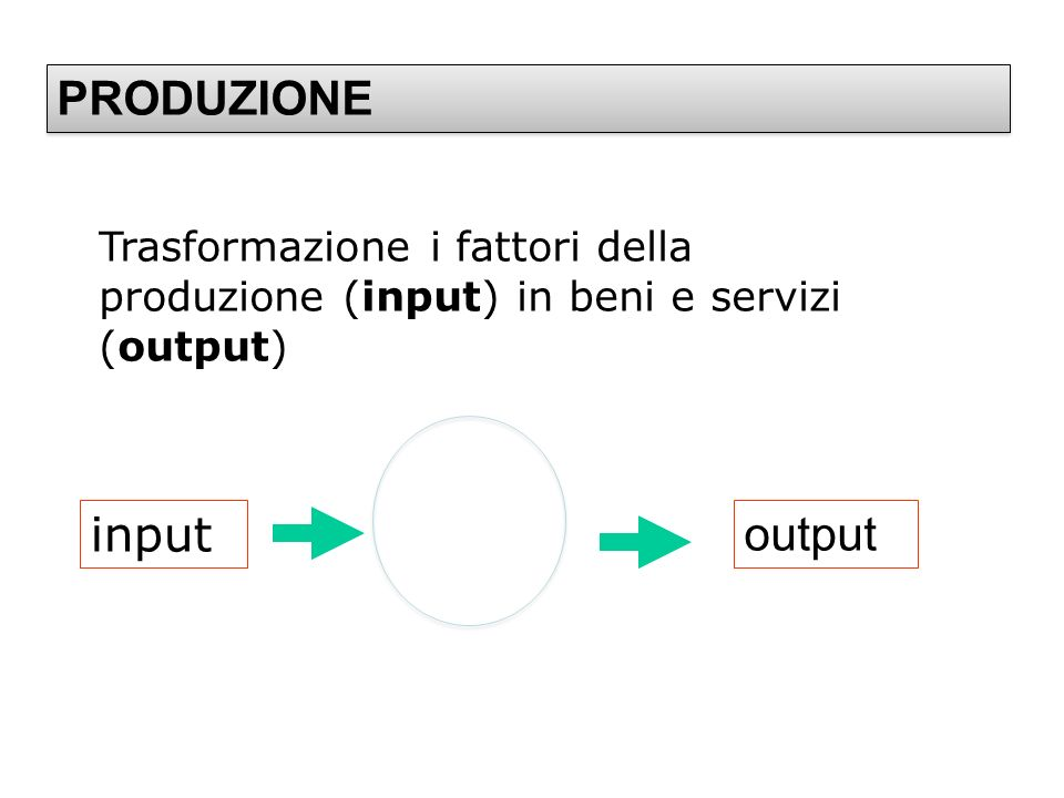 PRODUZIONE input output