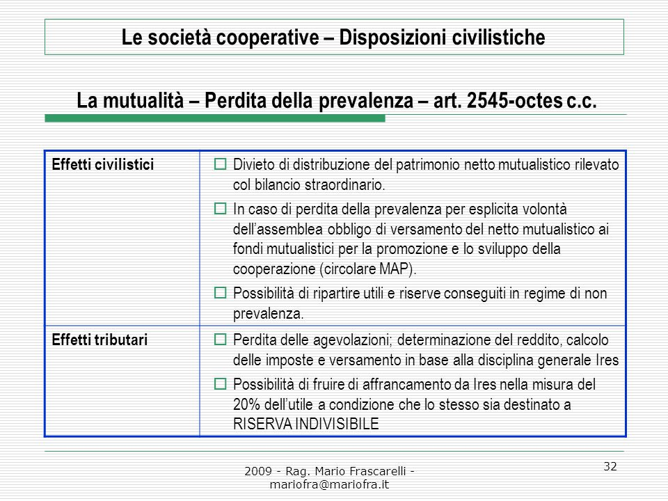Le società cooperative – Disposizioni civilistiche