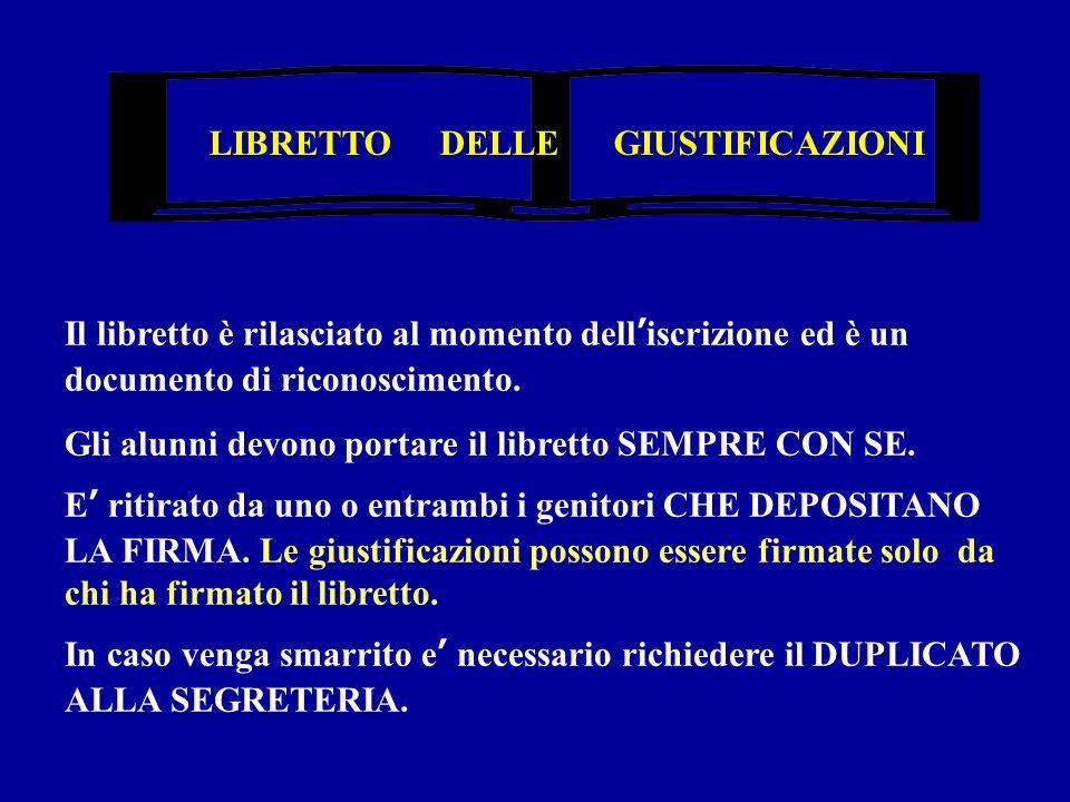 LIBRETTO DELLE GIUSTIFICAZIONI