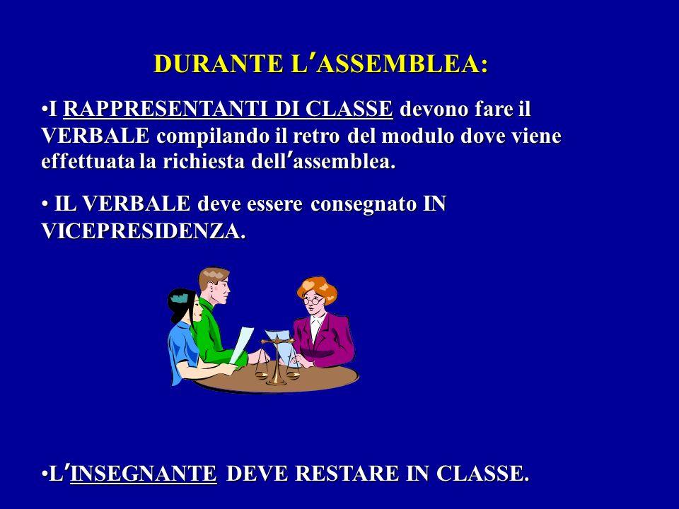 DURANTE L'ASSEMBLEA: