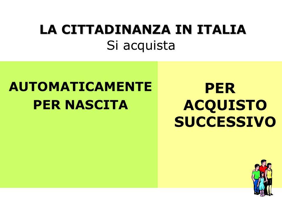 LA CITTADINANZA IN ITALIA Si acquista