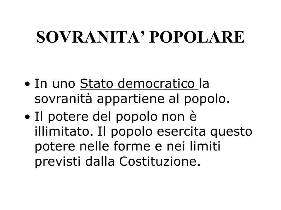 SOVRANITA' POPOLARE In uno Stato democratico la sovranità appartiene al popolo.