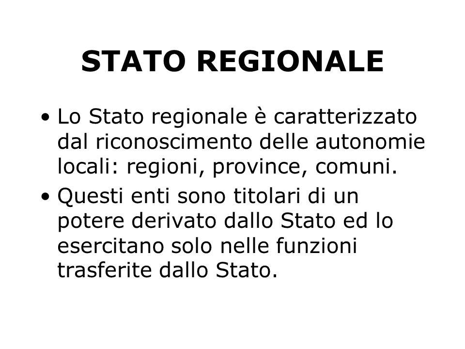 STATO REGIONALE Lo Stato regionale è caratterizzato dal riconoscimento delle autonomie locali: regioni, province, comuni.