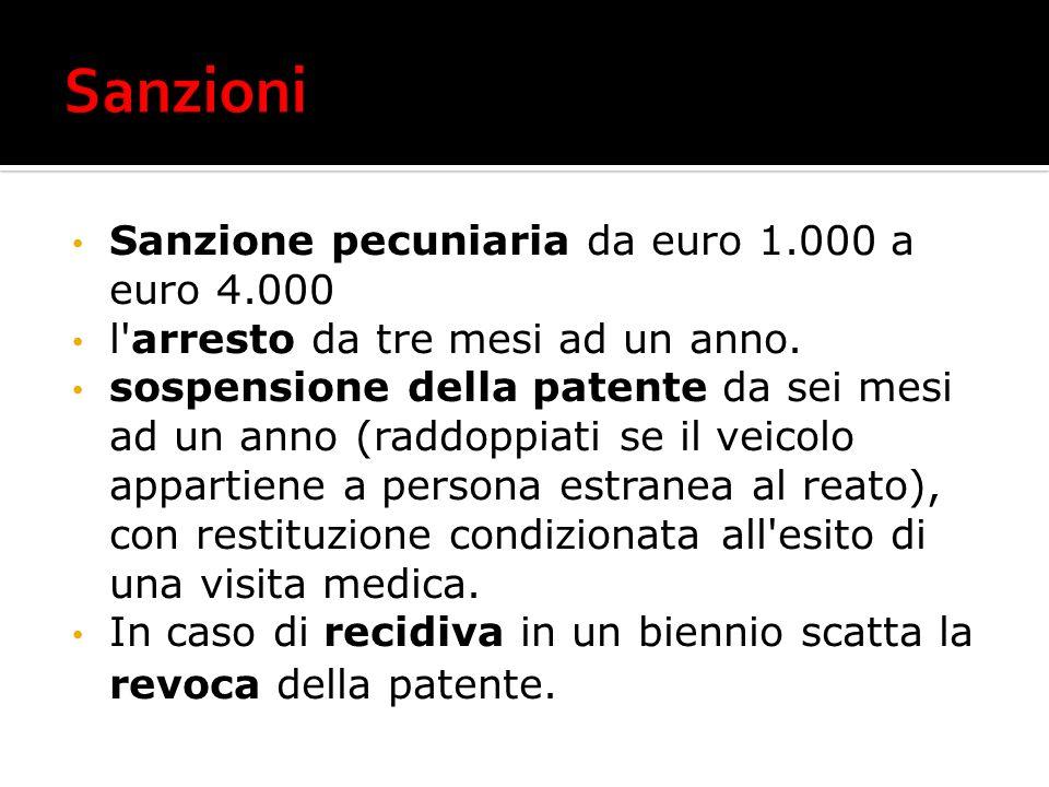 Sanzioni Sanzione pecuniaria da euro 1.000 a euro 4.000