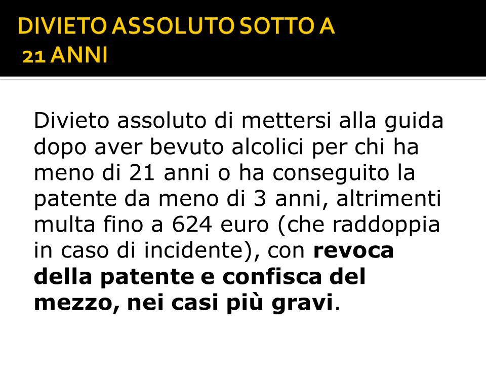 DIVIETO ASSOLUTO SOTTO A 21 ANNI