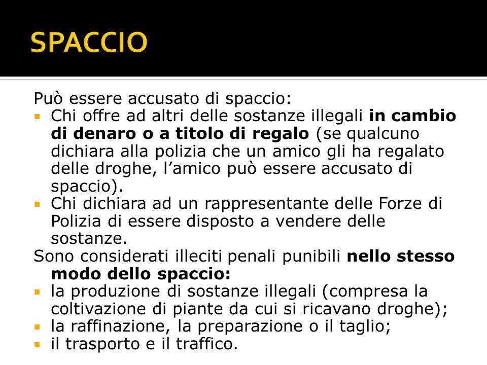 SPACCIO Può essere accusato di spaccio: