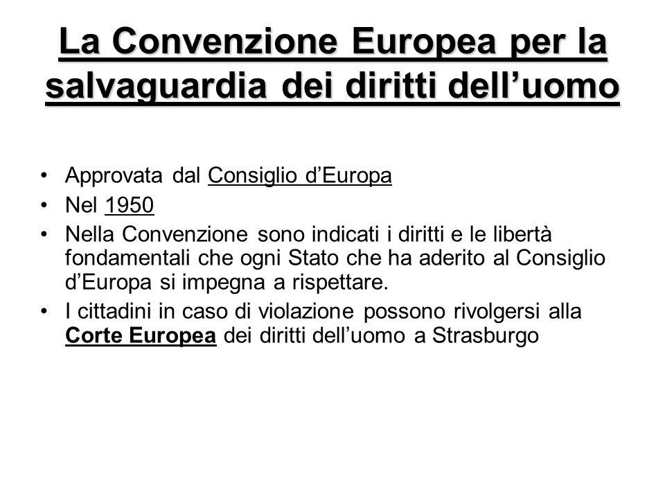 La Convenzione Europea per la salvaguardia dei diritti dell'uomo