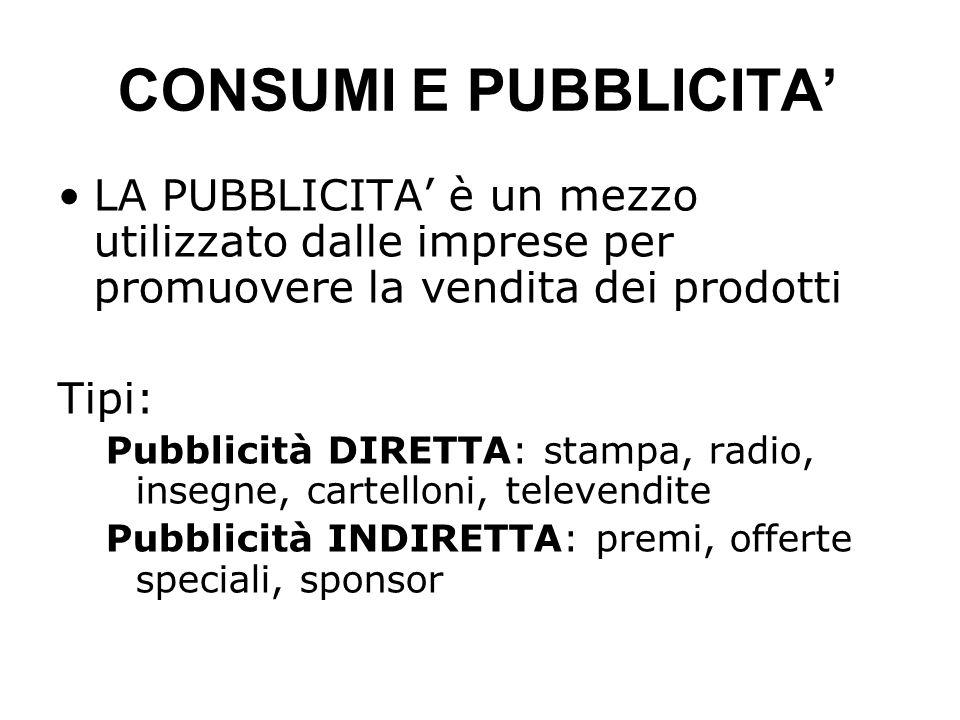 CONSUMI E PUBBLICITA' LA PUBBLICITA' è un mezzo utilizzato dalle imprese per promuovere la vendita dei prodotti.