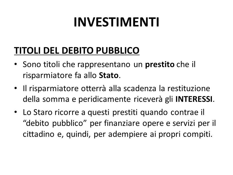 INVESTIMENTI TITOLI DEL DEBITO PUBBLICO